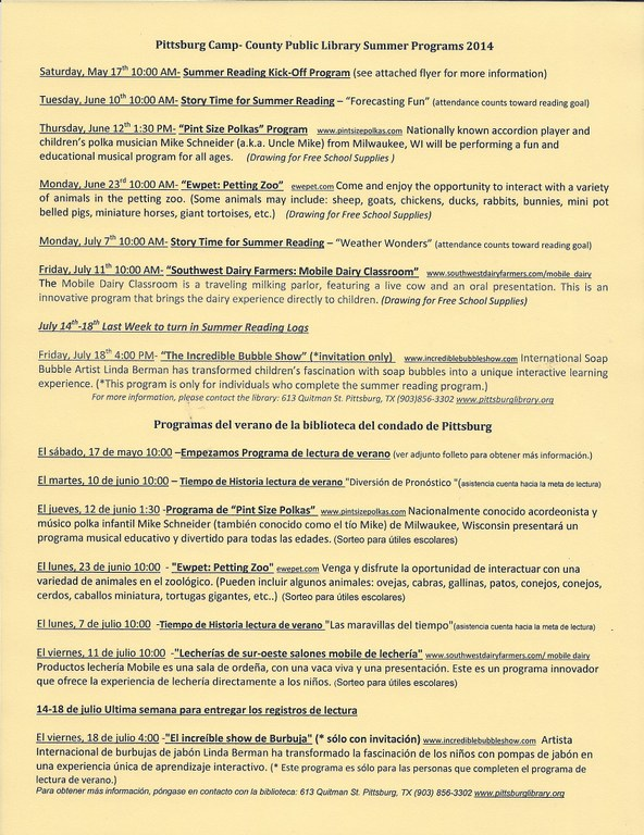 2014 Summer Program Schedule